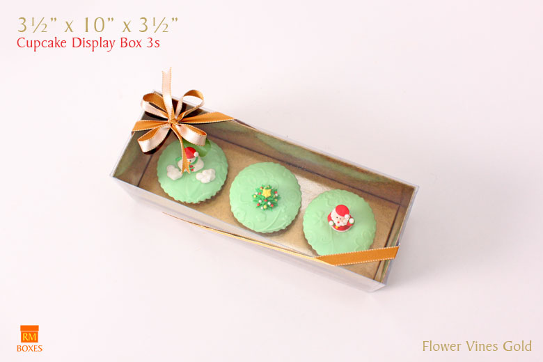 Cupcake Display Box 3s - Gold