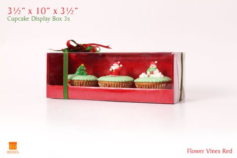 Cupcake Display Box 3s - Red