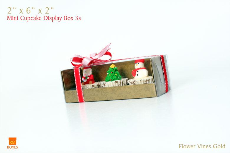 Mini Cupcake Display Box 3s - Red
